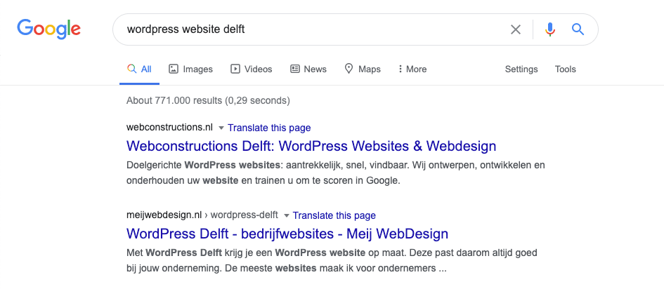 Vindbare website door Google meta informatie