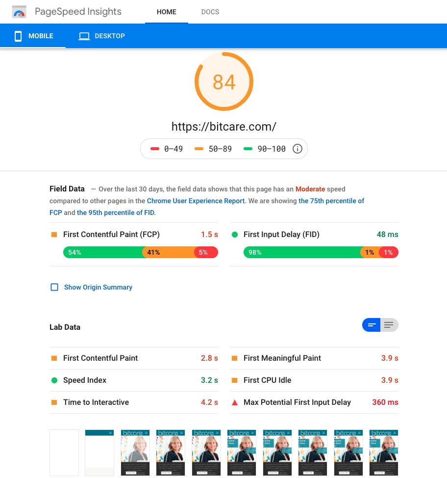 Score van mobielvriendelijkheid bij Google PageSpeed Insights