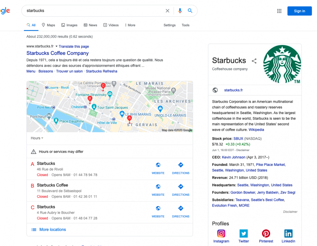 Internationale WordPress website - Zoekresultaat Starbucks Frankrijk
