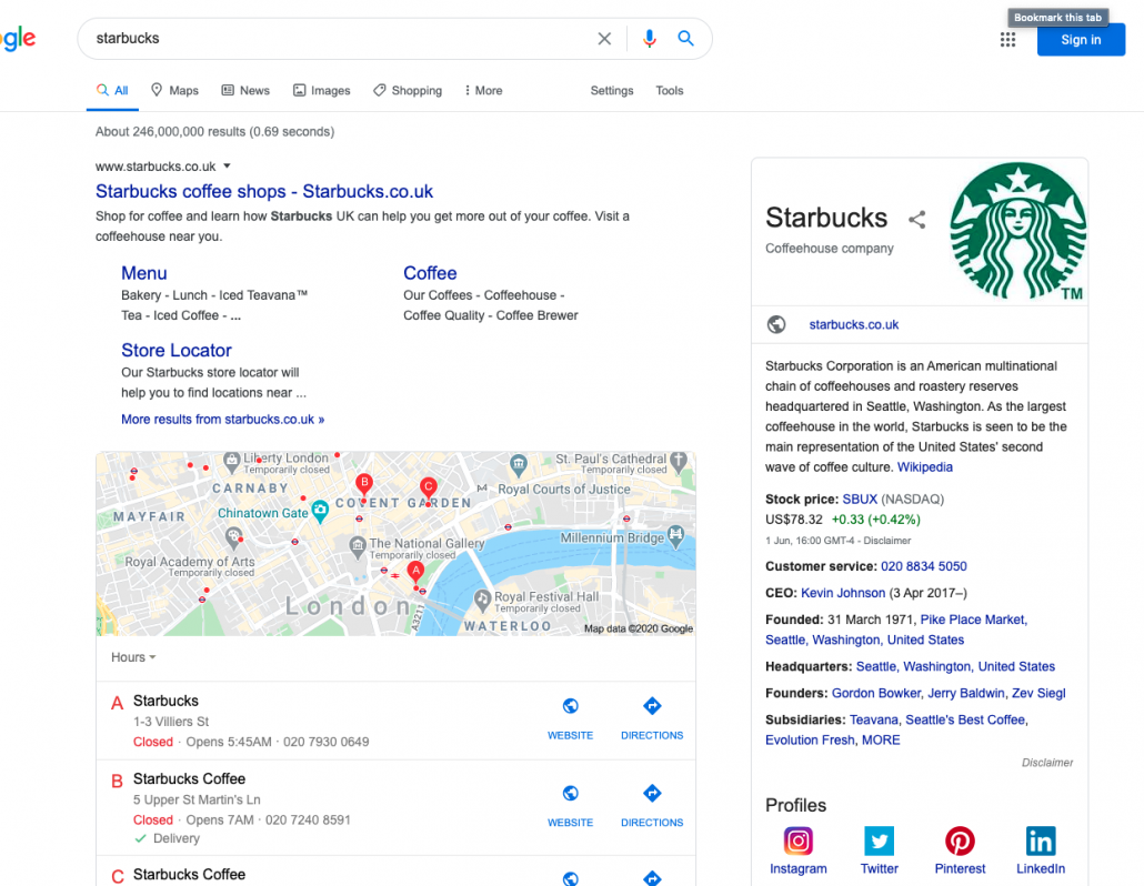Internationale WordPress website - Zoekresultaat Starbucks Engeland