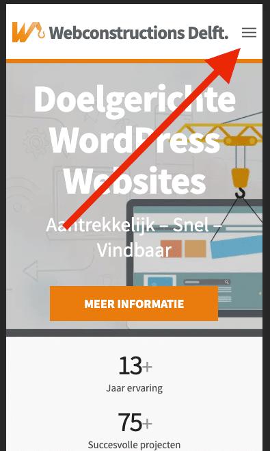 Gebruiksvriendelijke mobiele WordPress website - Hamburger menu