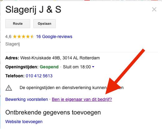 """Lokale SEO - Een ongeclaimde Google Mijn Bedrijf listing, te herkennen aan de """"Bent u eigenaar van dit bedrijf"""" link in het Knowledge Graph resultaat."""