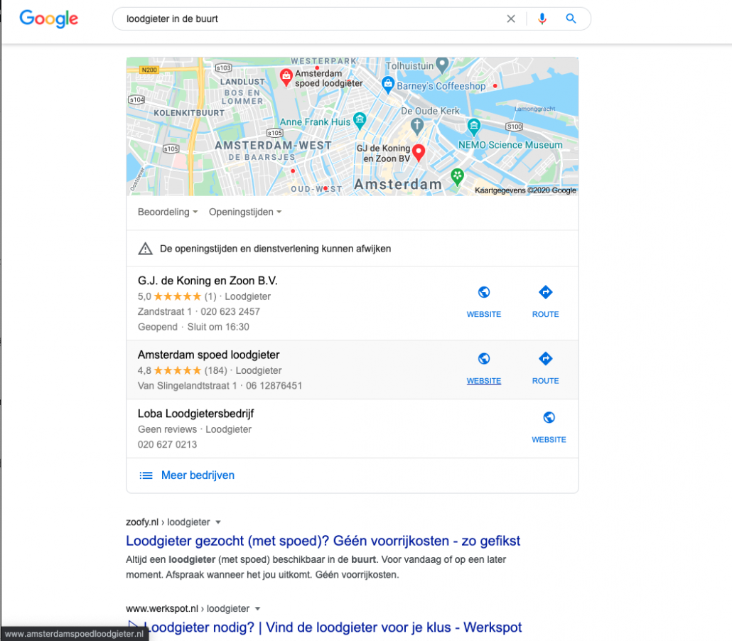 Lokale SEO - Google Maps resultaat