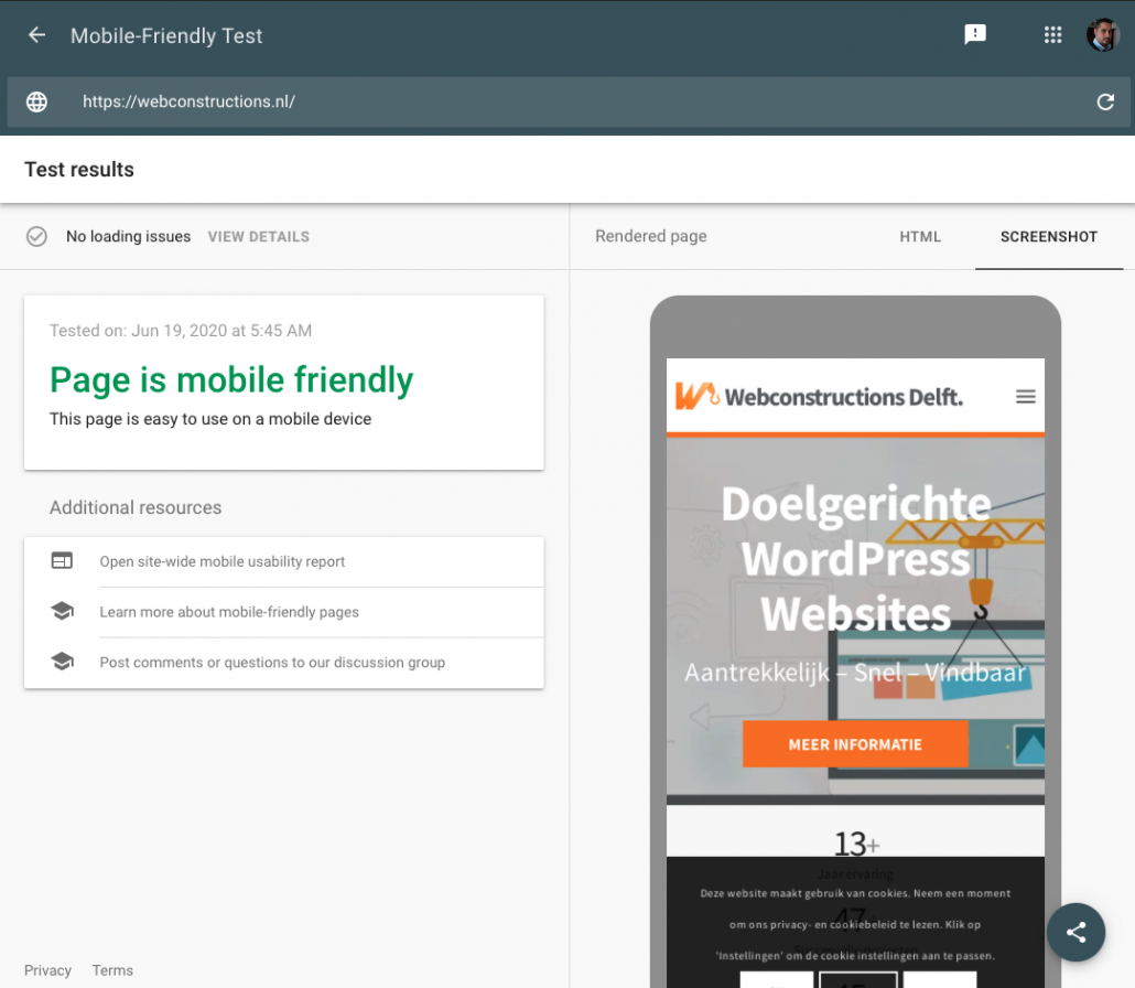 Lokale SEO - Mobile friendly score Webconstructions