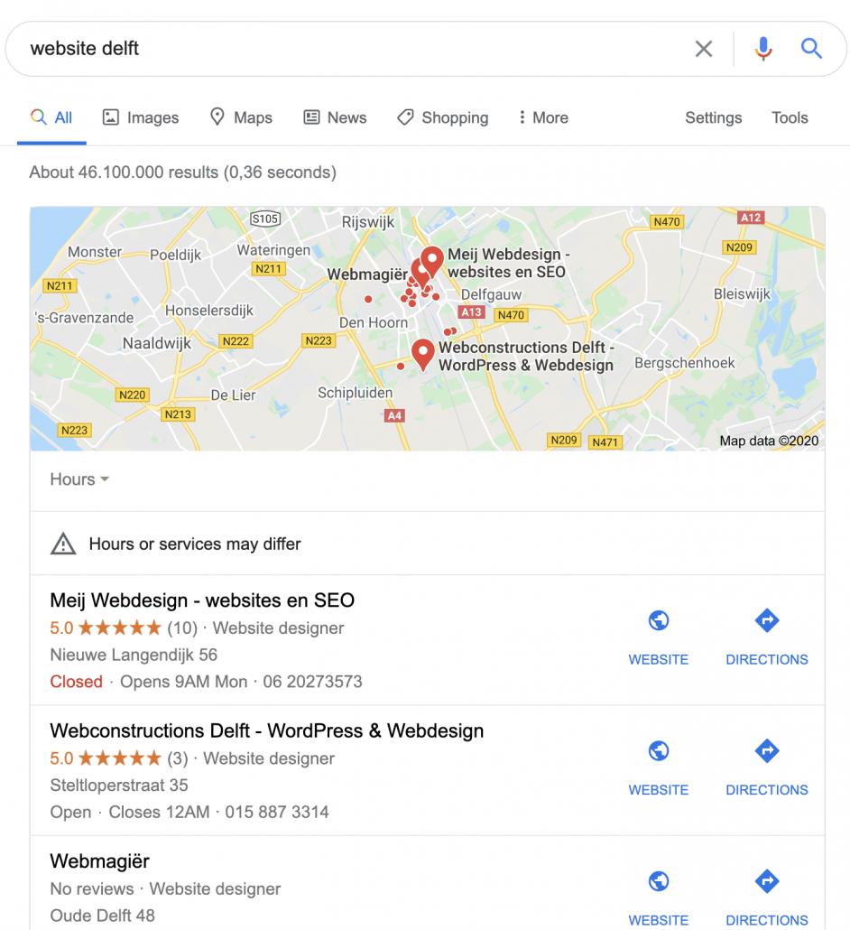 Lokale SEO - Google maps resultaat bovenaan