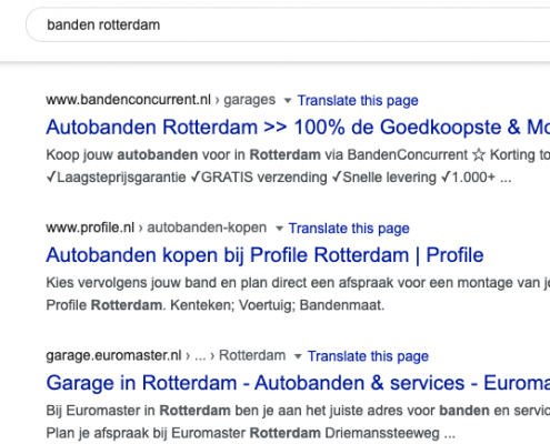 Lokale SEO - Profile zoekresultaat