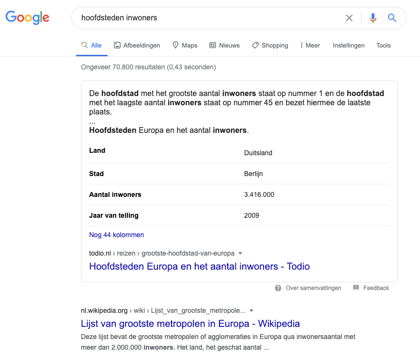 featured snippet - tabel