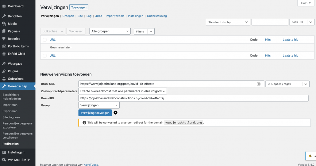 Wix importeren in WordPress - Redirects