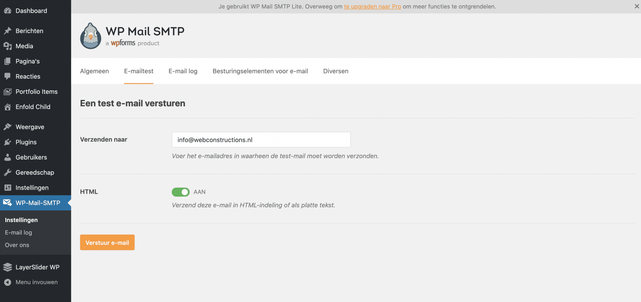 WordPress mailproblemen - testen WP Mail SMTP